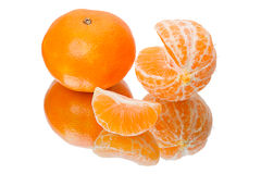 Mandarin orange with a reflection Royalty Free Stock Photos