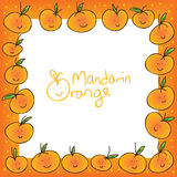 Mandarin orange white frame Stock Image