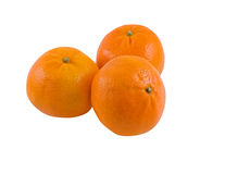 Mandarin Oranges. Three mandarin oranges isolated on white with clipping path Stock Images