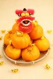 Mandarin oranges in basket with mini lion doll Royalty Free Stock Photos