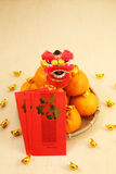 Mandarin oranges in basket with mini lion doll - Series 2 Royalty Free Stock Photos