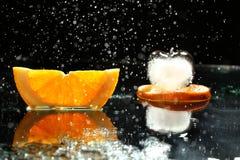 Mandarin oranges and cloves on blurred background freshness Stock Photo