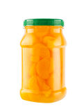 Mandarin oranges in light syrup in plastic bottle Royalty Free Stock Images