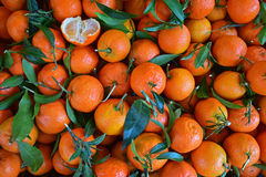 Mandarin Oranges with one half partially peeled Royalty Free Stock Image