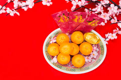 Mandarin oranges and red packets with Chinese Good Luck characte Stock Photography