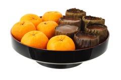 Mandarin Oranges and Rice Cakes Royalty Free Stock Photo