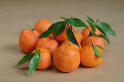 Citrus fruits, mandarin oranges. Still life with fresh mandarin oranges (tangerines) with green leaves Stock Images