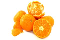 Mandarin Oranges  On White Stock Photo