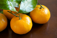 Mandarin Oranges on Wooden Table Royalty Free Stock Photography