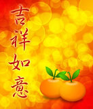 Mandarin Oranges with Your Wishes Comes True Text Royalty Free Stock Photo