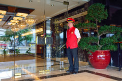 Mandarin Oriental Hotel doorkeeper Royalty Free Stock Photography