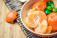 Mandarin peeled off in a bowl Stock Photography