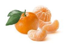 Mandarin and peeled slices group  on white background Royalty Free Stock Photos