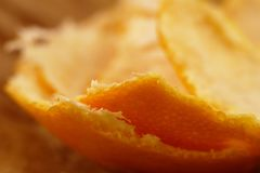 Mandarin peels. Macro of a fresh orange mandarin peels Stock Image