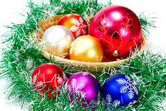 Mandarin,pine branches and christmas balls Stock Image