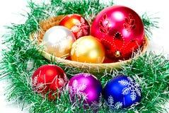 Mandarin,pine branches and christmas balls Stock Image
