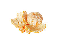 Mandarin with purified peel. One ripe juicy Mandarin purified peel on a white background Royalty Free Stock Photo