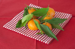 Mandarin on the red napkin Royalty Free Stock Photography
