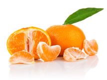Mandarin with segment and leaf Royalty Free Stock Photo