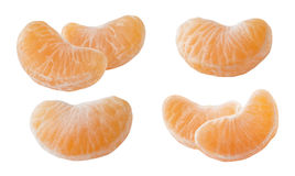 Mandarin slices set  on white background Stock Photo