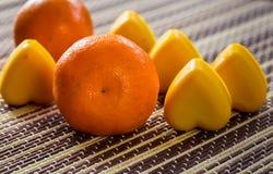 Mandarin and soap hearts royalty free stock image