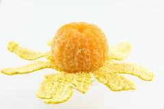 Mandarin som skalas i halva Royaltyfri Bild