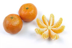 Mandarin. Some mandarins on the table peeled Stock Photography