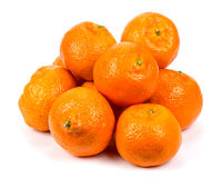 Mandarin, tangerine citrus fruit isolated on white background Stock Photos