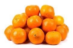 Mandarin, tangerine citrus fruit isolated on white background. Stock Images