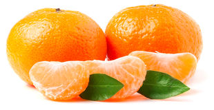 Mandarin. Tangerine with leaf isolated on white. Royalty Free Stock Photography