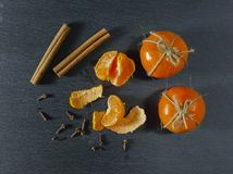 Mandarin tangerine. On a dark background Stock Photos