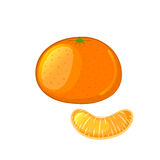 Mandarin and tangerine slice. Isolated object on a white background. Cartoon icon. Vector illustration stock illustration