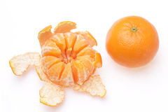 Mandarin. Tangerine and slices on a white background Royalty Free Stock Image