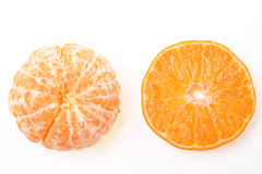 Mandarin. Tangerine and slices on a white background Stock Image