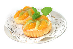 Mandarin tartlet with lemon balm Royalty Free Stock Image