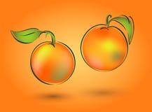 Mandarin twee op een oranje achtergrond Royalty-vrije Stock Afbeeldingen