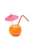 Mandarin with umbrella and straw Royalty Free Stock Image