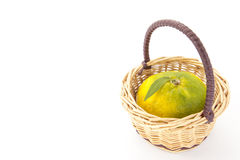 Mandarin that was placed in a basket Stock Image