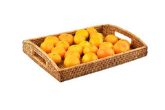 Mandarin on wickered tray Stock Images