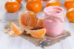 Mandarin yogurt Royalty Free Stock Photo