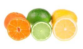 Mandarina, cal y limón Foto de archivo libre de regalías