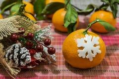 Mandarina con el copo de nieve decorativo Rama decorativa de la picea con un cono imagenes de archivo