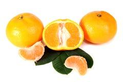 Mandarina con las hojas verdes Imagenes de archivo