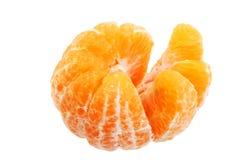 Mandarina de la fruta en el fondo blanco, textura partida de la rebanada fotografía de archivo