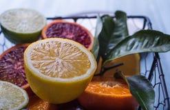 Mandarina en cierre macro del blackground de la cesta de la cal ligera trasera oscura de la Navidad encima del limón fotos de archivo libres de regalías