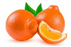 Mandarina o Mineola de dos naranjas con la rebanada y la hoja aisladas en el fondo blanco Foto de archivo