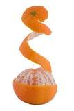 Mandarina parcialmente pelada fotografía de archivo