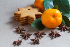 Mandarina y galletas Fotos de archivo libres de regalías