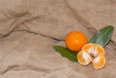 Mandarinas anaranjadas brillantes con las hojas verdes Imagenes de archivo