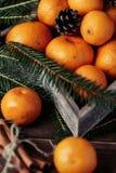 Mandarinas con la decoración de la Navidad en fondo de madera rústico Mandarinas con la picea Decoración de la Navidad Imagen de archivo libre de regalías